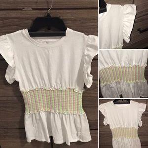 Cute ruffled sleeve cinch waste shirt